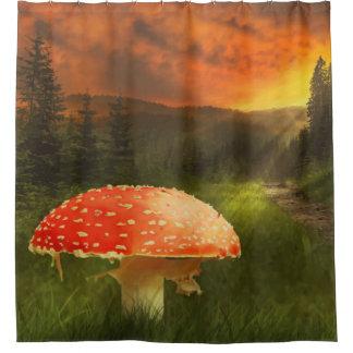 Cortina de ducha mágica de la impresión del bosque