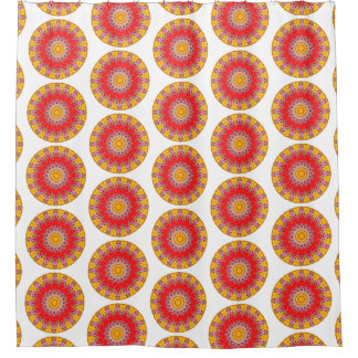 Cortina De Ducha Mandala redonda amarilla y roja de Boho (impresión
