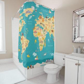 Cortina De Ducha Mapa animal del mundo para los niños