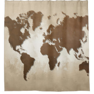 Cortina De Ducha Mapa del mundo del diseño 64