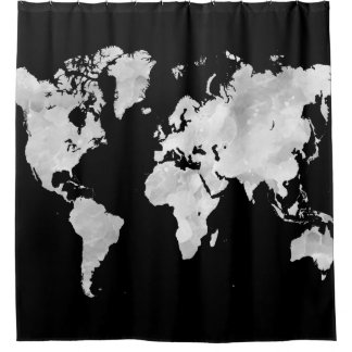 Cortina De Ducha Mapa del mundo gris negro del diseño 70