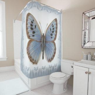 Cortina De Ducha Mariposa azul adornada y elegante hermosa