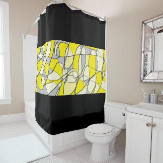Cortina de ducha moderna abstracta amarilla y gris