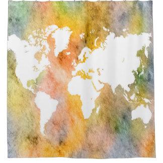 Cortina De Ducha Naranja del mapa del mundo del diseño 63