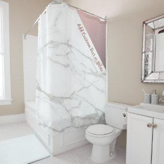Cortina De Ducha Oro color de rosa de mármol blanco elegante de