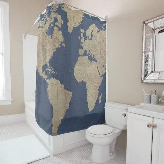 Cortina De Ducha Oro y mapa del mundo azul