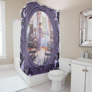 cortina de ducha púrpura del espejo de la señora