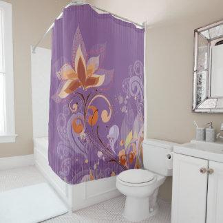 Cortina de ducha púrpura floral del estilo francés