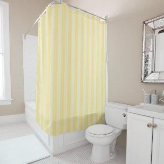 Cortina de ducha rayada amarilla en colores pastel