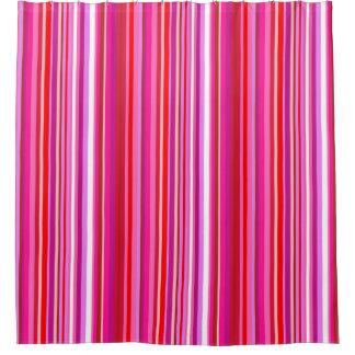 Cortina de ducha rayada rosada