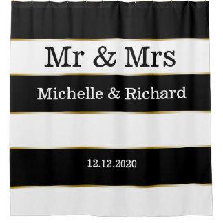 Cortina De Ducha Rayas del blanco de Sr. y de señora Names Wedding