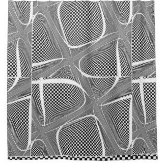 Cortina De Ducha Remolino a cuadros blanco y negro
