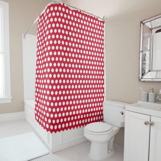 Cortina de ducha roja retra del cuarto de baño del
