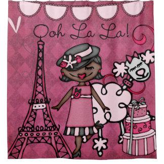Cortina De Ducha Torre Eiffel afroamericana de la diva del La del
