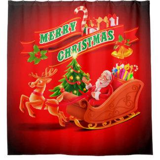 Cortina De Ducha Trineo y reno de Santa de las Felices Navidad