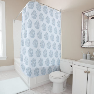 Cortina de ducha tropical azul