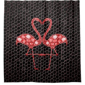 Cortina de ducha tropical de la joya del flamenco