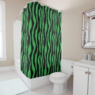 Cortina de ducha verde elegante del estampado de