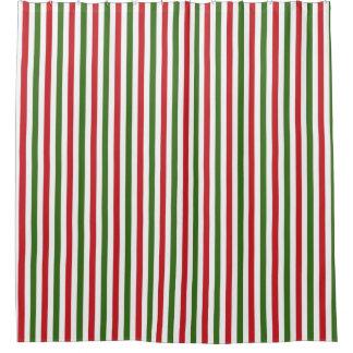 Cortina de ducha verde y roja del navidad