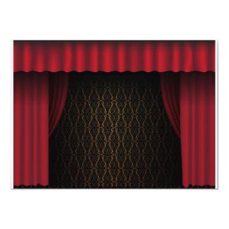 Cortina roja invitación 11,4 x 15,8 cm