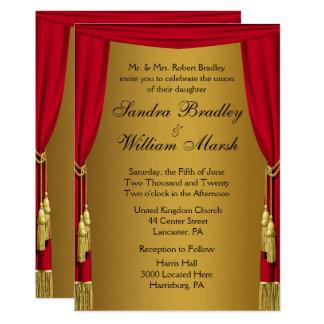 Cortinas del boda del tema de la película invitación 12,7 x 17,8 cm