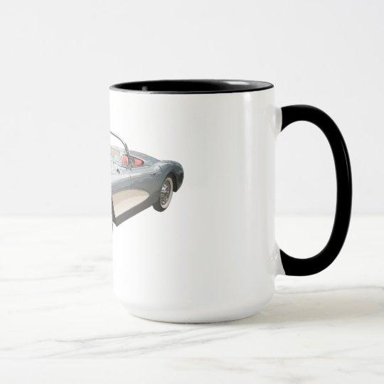 Corvette plateado 1959 del azul en la taza de café