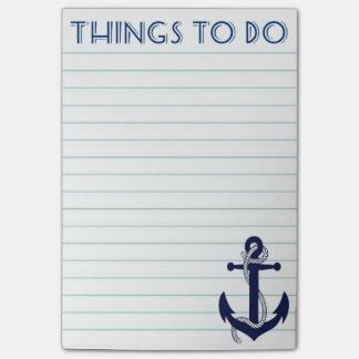Cosas náuticas del ancla para hacer notas de