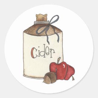 cosecha de la sidra de manzana y de la manzana pegatina redonda