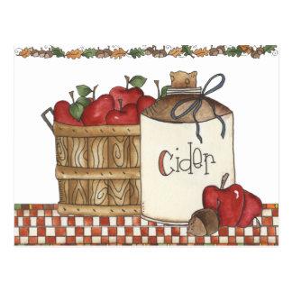 cosecha de la sidra de manzana y de la manzana tarjetas postales