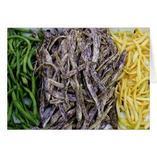 Cosecha de la tarjeta de la verdura de las habas