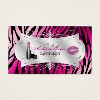 Cosmetología negra fucsia del brillo del estampado tarjeta de negocios