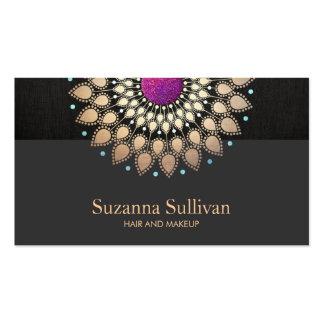 Cosmetología negra magenta del oro elegante tarjetas de visita