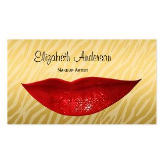 Cosmetologist rojo caliente de los labios de la ce tarjetas de visita