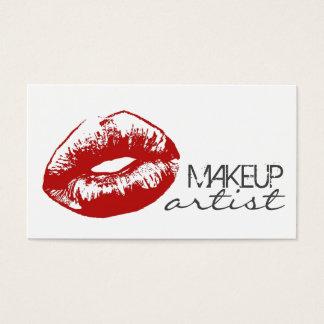 Cosmetologist rojo elegante del artista de tarjeta de negocios