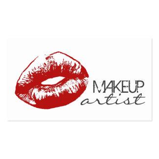 Cosmetologist rojo elegante del artista de tarjetas de visita