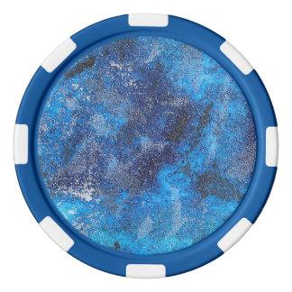 Cosmos azul #1 fichas de póquer