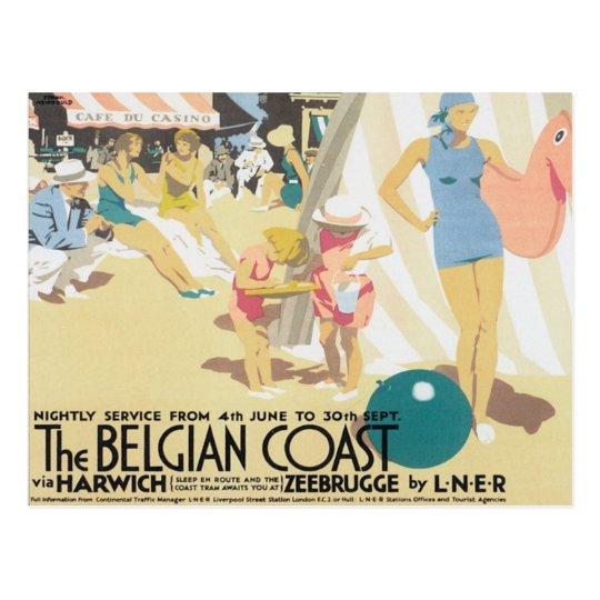 Costa belga Bélgica del vintage Postal