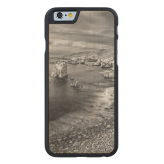 Costa costa de la playa de B&W, California Funda De iPhone 6 Carved® De Arce