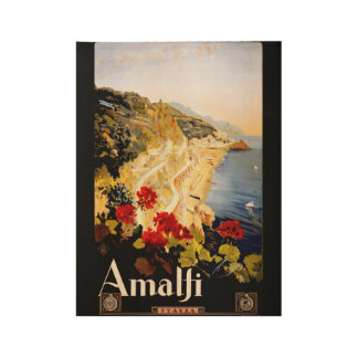 Costa de Amalfi Italia del viaje del vintage Póster De Madera
