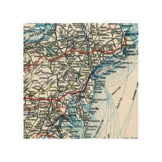 Costa este Estados Unidos del mapa de la carretera Impresión En Madera