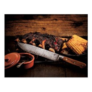 Costillas y maíz de carne de vaca de Barbequed Postal