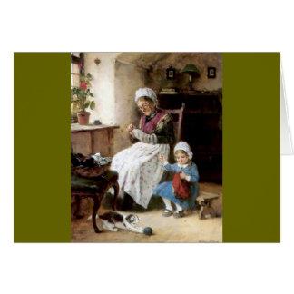 Costura de la abuela y de la nieta felicitaciones