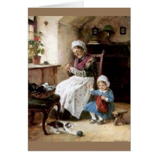 Costura de la abuela y de la nieta tarjetón