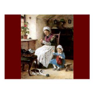 Costura de la abuela y de la nieta tarjetas postales