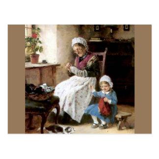 Costura de la abuela y de la nieta postal