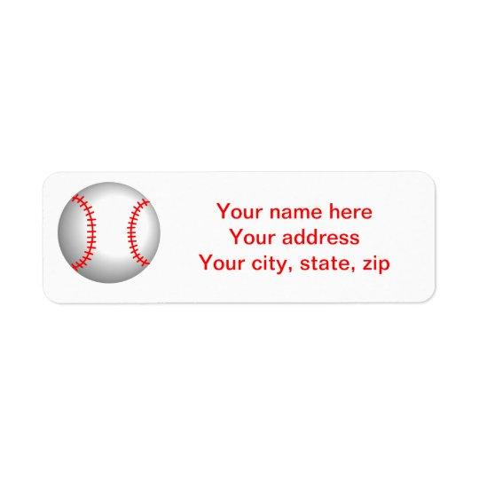 Costura roja del béisbol blanco etiqueta de remitente