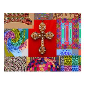 Costuras Jewelled cruz santa del navidad del Postal