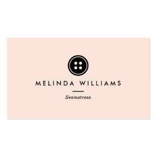 Costurera moderna del logotipo del botón, tarjetas de visita
