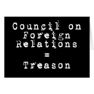 Council on Foreign Relations = traición Tarjeta De Felicitación