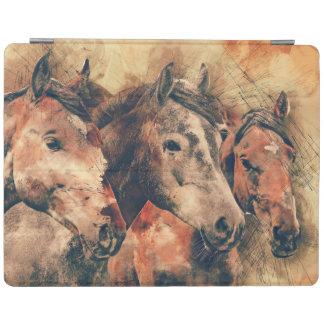 Cover De iPad Acuarela artística de los caballos que pinta